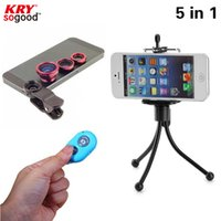 Others For iphone 4 4s 5 5c 5s 6 6s 6s plu... For samsung galaxy a5 a3 alpha core... Wholesale-2016 New 5in1Camera Kit Fisheye Lens Wide Angle Lens Macro Lens with Tripod Bluetooth shutter for iPhone Samgung Lenovo Xiaomi