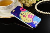 Wholesale iphone cases doraemon online - New Technology Iphone Plus Laser Blue Ray Mobile cases Iphone S Doraemon cute cartoon Pokonyan Screen Protector