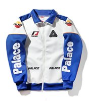 Wholesale Heavy Embroidery Suits - PALACE 17SS motorcycle clothing racing suit heavy embroidery logo pattern zipper jacket