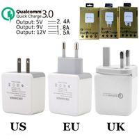 carregador britânico para ipad venda por atacado-Adaptação Rápida Carga QC 3.0 5 V 2.4A 9 V 1.8A 12 V 1.5A Eu EUA Uk Ac casa carregador de parede adaptador de energia para o iphone ipad samsung s7 s8 android telefone