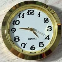 Wholesale Wholesale Clock Inserts - 37mm Cheap and Gold Quality Ni Clock Gold Metal Fit up Clock Insert Arbic Numerals Mini Insert Clock