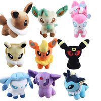 Wholesale pokemon plush dolls - Poke Plush Toys Poke Stuffed Dolls Umbreon Pikachu Eevee Toys Espeon Jolteon Vaporeon Flareon Glaceon Animals Stuffed Dolls OTH567