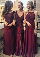 Wholesale Long Different Style Bridesmaid Dresses - Cheap Burgundy A Line Bridesmaid Dresses Different Style Long Chiffon Bridesmaid Gowns Vestido de dama de honor 2018