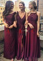 vestido dama honour toptan satış-Ucuz Bordo Bir Çizgi Gelinlik Modelleri Farklı Stil Uzun Şifon Nedime Abiye Vestido de dama de onur 2018