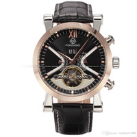 Wholesale Mens Leather Wrap Watch - Classic Tourbillon Wrap Mens Watches Top Brand Luxury Automatic Watch Golden Case Calendar Male Clock Black Mechanical Watch