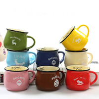 Wholesale ceramic coffee mug sets - Wholesale- New Listing! Simple and Lovely Pinkycolor 180 280 380ml Coffee Mug Set Breakfast Mug Ceramic Mug 4pcs set with Seven Colors