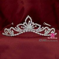 güzel kız taç toptan satış-Düğün Saç Takı Tiara Rhinestone Pretty Kızlar El yapımı Kristal Taç Kafa Gelin Prenses Hairwear Km201