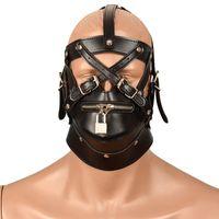 Wholesale Soft Leather Ball Gag - 2016 Newly Soft Leather Bondage Mask SM Totally Enclosed Hood Choking Sex Slave Head Hood Adult Sex Game Bondage Gear