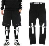 Wholesale Cross Leggings Xl - Wholesale-New 2016 HOOD BY AIR Tide brand PYREX BOY cross Printed Leggings couple of men and women