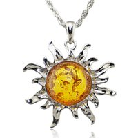 Wholesale Baltic Amber Necklaces - Wholesale-Fashion Hot Baltic Faux Amber Honey Sun Lucky Flossy Tibet Silver Pendant Necklace Jewelry L00301