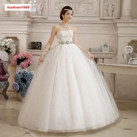 Wholesale Crystal Brand Wedding Dress - Hot Selling Sexy Strapless Ball Gown Wedding Dresses Pregnant Empire Lace-up Floor-length Crystal Bow Lace Bride Dresses White Brand New