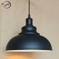 grandes luces de techo de la cocina al por mayor-Colgante negro Luces de hardware Loft retro Lámpara colgante industrial e27 iluminación del cable para comedor / cocina / bar luces de café