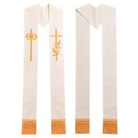 Wholesale Ring Cross Gold - Minister Clergy Stole Religon Gold Cross w Wedding Rings Rmbroidered Holy Dove Stole High Quality Fast Shipment