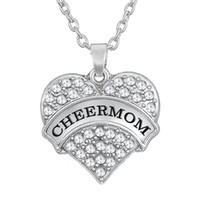 Wholesale Heart Necklaces For Sale - Hot Sale 50pcs lot Rhodium Plated Zinc Alloy Material Letter CHEERMOM Crystal Heart Charm For Mother Necklaces Jewlery