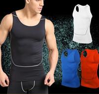 erkekler sıkı egzersiz giysileri toptan satış-Pro Savaş katı erkek Spor Gömlek Yelek Üst kolsuz Spor Erkekler Egzersiz Bisiklet çabuk kuruyan Tayt giyim yaz yelek S-XXXL