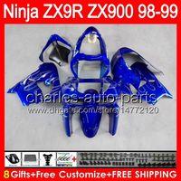 ingrosso blu 1998 zx9r-8gifts Carrozzeria per blu lucido KAWASAKI NINJA ZX9R 98 99 ZX 900 Corpo 38NO18 ZX 9R 98-99 9 R ZX900 ZX-9R 1998 1999 900CC blu nero Carenatura