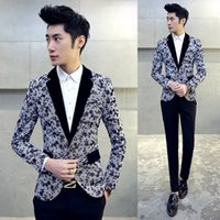 Wholesale Long Dress Jackets For Men - 2017 Spring Blazers Mens 5XL Plus Size Dress Jackets For Mens Suits Prom Flower Printing Casual Blazers Cappotto Manteau Homme