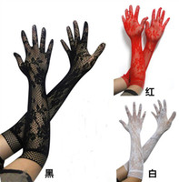 Wholesale Sexy Driving Gloves - Wholesale-2016 Black White Red Long Lace Gloves Sexy Women's Lace Gloves Mittens for Party Accessories Ladies Summer Lace Driving Gloves