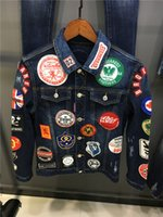 Wholesale Embroidery Patches Sequin - 2017 new luxury brand Basic Coats Autumn Winter Men fashion all Denim Jacket Vintage slim fit italian caten Brand Jeans Coat brothers
