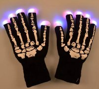 Guanti LED Skeleton Light Up Light Up Knit Guanti Light Show Guanti per Party Rave Compleanno Halloween Costume Novità giocattolo