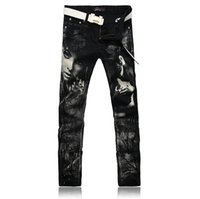 Wholesale colored drawing jeans - Individual Design Fashion Male Colored Drawing Straight Jeans Men's Denim Movie Characters Pattern Printed Jeans Free Shipping