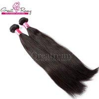 çince düz bakire saç uzantıları toptan satış-UNPROCESSED Bakire Saç Uzantıları 100% Çin Boyanabilir Insan Saç Atkı Örgü Doğal Renk Ipeksi Düz 2 ADET / GRUP Greatremy Drop Shipping