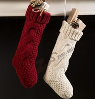 Wholesale Wholesale Crochet Ornaments - Christmas Stocking Long Crochet Knitted Xmas Stocking Xmas Tree Decorations Outdoor Christmas Decorations Festival Party Ornament 644