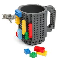 Venda quente New Creative DIY Assembly Build-on Brick Mug Building Blocks Caneca de café Brick Drink Tea Cup