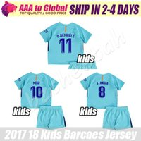 Wholesale Tops Soccer Boys - Kids SUAREZ Soccer Jersey 2017-18 Camiseta de futbol Children MESSI DEMBELE jersey La Liga kids football shirt top Thai Quality