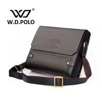 çanta sözleşmesi toptan satış-Toptan-2016 W.D POLO Erkekler Deri omuz çantası nazik erkekler İş çanta sözleşme çanta erkekler messenger çanta klasik tasarım M1640