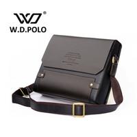 Wholesale Blue Polo Dress - Wholesale-2016 W.D POLO Men Leather shoulder bag gentle men business handbags contract bags men messenger bag classical design M1640