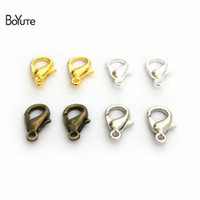 BOYuTe 100Pcs Liga de Metal Bronze Prata Gold Rhodium Plated Lobster Clasp Diy Jewelry Necklace Bracelet Clasp Accessories