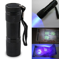 Wholesale Blacklight Torch - High Quality 9LED Flashlight Aluminium UV Ultra Violet Blacklight 9 LED Flashlight Torch LightFree Shipping