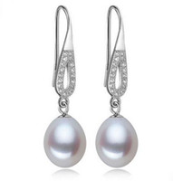 8-9mm Natural Freshwater Pearl Drop Earrings 925 Silver White / Pink / Purple para Mulheres