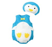 Wholesale animal romper hat online - 6 designs romper cartoon suit penguin strawberry fruit animal style new baby rompers with hat good quality per