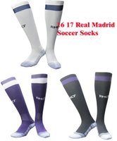 Wholesale Stocking Football Socks - Benwon - Real Madrid 16 17 soccer socks adult sport socks men's Knee High cotton soccer stocking thai quality Thicken Towel Bottom long hose