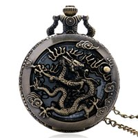 Wholesale Chinese Watches For Men - Wholesale-Cool Bronze Hollow Chinese Dragon Design Quartz Fob Pendant Pocket Watch With Necklace Chain For Men Women