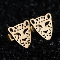 Wholesale Earing Steel - Wholesale Crystal Ear Jewelry Lovely Gold Teddy Earing Stainless Steel leopard Head Stud Earrings Jewelry For Women brincos