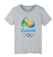Wholesale Mascot Blue Shirt - 2016 Brazil Rio de Janeiro Olympics Games T-shirt for Men Mascot Print White rio2016 O-neck Hot Sale Short-sleeve t shirts Wholesale
