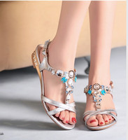 Wholesale Rhinestone Flat Sandals Wholesale - Rhinestone sandals women on the new 2016 new Ms. leather flat sandals Bohemian sandals shoes buckle free shipping