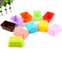 Wholesale candy case silicone online - Rectangle Shape Silicone Cake Mold Fondant Baking Mould DIY Silicone Bakeware Bread Muffin Case Candy Jelly Ice Cake Molds