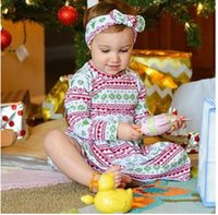 Wholesale Pleated Headband - Christmas baby girls sweet outfits Infants printed stripe mooses pleated dress+bows headband 2pcs sets Toddler kids clothing C1930