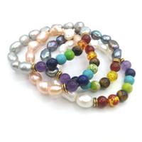 Wholesale baroque pearls bracelets - JLN Healing Stone Yoga Bracelet Baroque Freshwater Pearl Amethyst Lapis Turquoise Imperial Jasper Amber Chakra Bracelets For Gift
