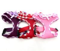 yelek rengi toptan satış-Köpek Kontrol Demeti PlaidBow Yumuşak Mesh Yürüyüşü Yaka Emniyet Kemeri Yelek 3 Renk 5 boyutları mevcut