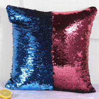 Wholesale Bling Weave - Pillow Case two-tone Rainbow Magic Sequins Boster case bling paillette Cushion Cover Christmas Gifts Pillowcase 2017 hot