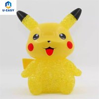 U-EASY Yellow Pikachu Cartoon Night Light Botão Celular Bateria Power Color-changing LED Lights Cute Cartoon Deck Decor Lamp