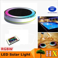 Wholesale Solar Powered Light Ip68 - Solar Powered LED swimming pool Lights 24 LEDS RGBW full color IP68 waterproof solar lights for garden swinmming pool + remote control