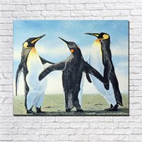 One Panel painted penguin - Hand Made Three Penguin Oil Painting On Canvas Animal Oil Painting Modern Canvas Wall Art Sitting Room Decor Picture