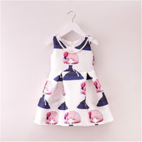 Wholesale Inside Ball Gown - 2016 new fashion children girl sleeveless princess dress cotton Inside high-quality kids one piece dress YN19