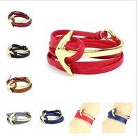 Wholesale Mens Leather Infinity Bracelet - 2016 Anchor bracelets Infinity Leather Wrap bracelet For Men Women Charm Fish Hook fashion womens mens jewelry wholesale hot sale